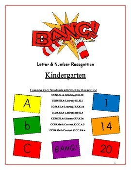 """BANG!"" Kindergarten Letter & Number Recognition Game Common Core"