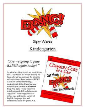 """BANG!"" Kindergarten Sight Words CCSS Game"