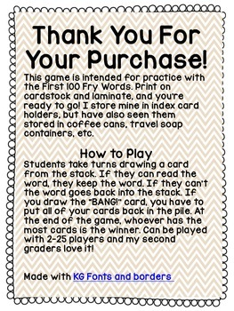 BANG! Sight Word Practice Game (First 100 Fry Words)