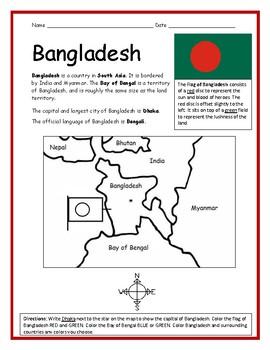 BANGLADESH - Printable handout with map and flag
