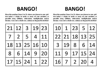 BANGO Instructions and Game Board