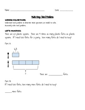 BAR MODEL PRACTICE-  two step word problems (multiplication and division)