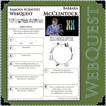 BARBARA McCLINTOCK - WebQuest in Science - Famous Scientist - Differentiated