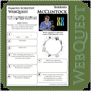 BARBARA McCLINTOCK -Science WebQuest Scientist Research Project Biography Notes