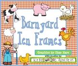 BARNYARD Ten Frame Clip Art Cow Pig {Farm} Rooster 0-10 Common Core Math Aid