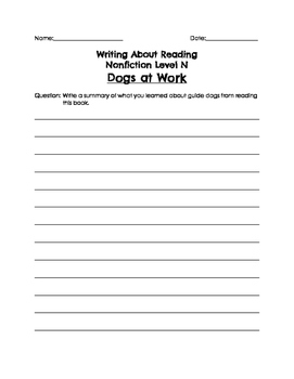 BAS Writing About Reading Nonfiction Responses Levels L-Z