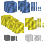 BASE 10 BLOCKS 3-D CLIP ART 1s, 10s, 100s, 1000s  - 16 images (4 colors)