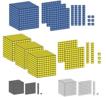 BASE 10 BLOCKS 3-D CLIP ART 1s, 10s, 100s, 1000s  - 16 images (4 colors)