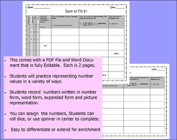 Base Ten, Number Form, Word Form, Expanded Form Worksheet