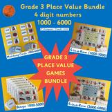 BASE 10 Games (1000-6000) 3rd Grade Place Value BUNDLE