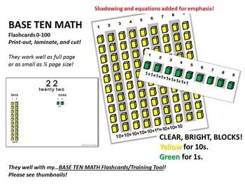 BASE 10 MATH Flashcards 0-100 (10s and 1s Blocks)