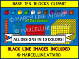 BASE TEN BLOCKS CLIPART IN 10 COLORS (PLACE VALUE CLIP ART)