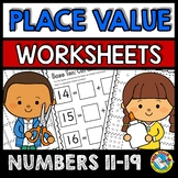 PLACE VALUE WORKSHEETS 11-19 (TEEN NUMBERS CUT AND PASTE A