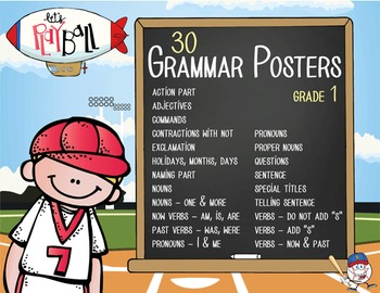 BASEBALL - 1st grade GRAMMAR posters / Scott Foresman Reading