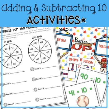BASEBALL ADDING AND SUBTRACTING 10 AND MULTIPLES OF 10 AND