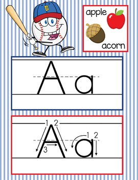 BASEBALL - Alphabet Cards, Handwriting, ABC Flash Cards, ABC print with pictures