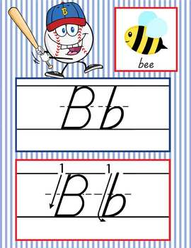 BASEBALL - Alphabet Cards, Handwriting, D'Nealian, ABC cards with pictures