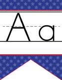 BASEBALL - Alphabet Flag Banner, handwriting, A to Z, ABC print font