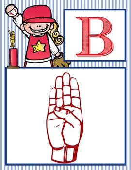 BASEBALL - Alphabet Flag Banner, SIGN LANGUAGE