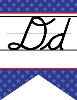 BASEBALL - Alphabet Flag Banner, handwriting, A to Z, D'Nealian cursive font