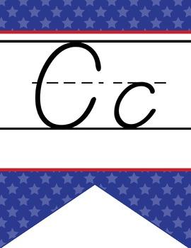 BASEBALL - Alphabet Flag Banner, handwriting, A to Z, D'Nealian manuscript