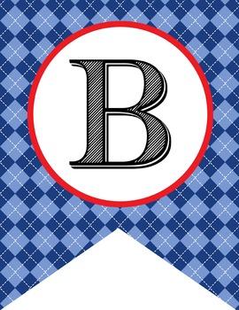 BASEBALL - Alphabet Flags, CREATE a BANNER, argyle pattern