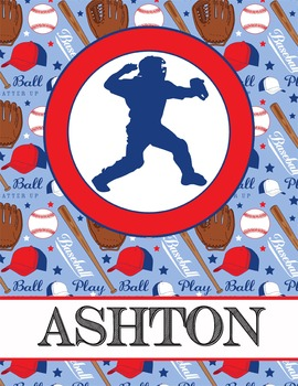 BASEBALL theme  - Student Binder Covers / MS Word, you personalize