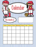 BASEBALL - Classroom Decor: Calendar Set