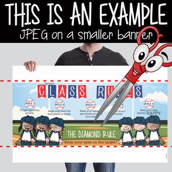 BASEBALL - Class Decor: LARGE BANNER, Class Rules, Whole Brain Teaching Rules