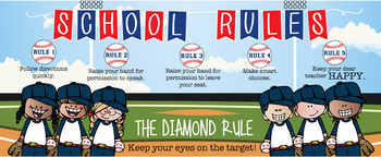 BASEBALL - Class Decor: LARGE BANNER, School Rules, Whole Brain Teaching Rules
