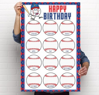 BASEBALL - Classroom Decor: Happy Birthday - size 24 x 36 poster