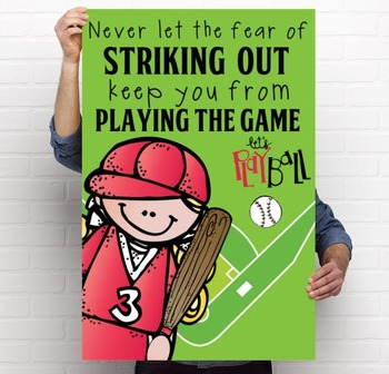BASEBALL - Classroom Decor: LARGE POSTER, Never Let the Fear