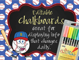 BASEBALL - Classroom Decor: editable chalkboard  POSTERS / Bistro Chalk Markers