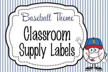 BASEBALL - Classroom Supply Labels, editable