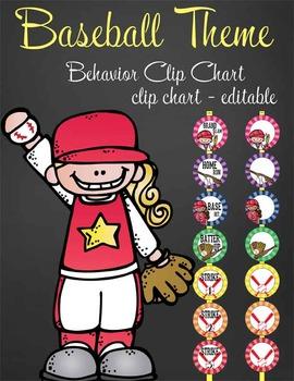BASEBALL - Clip Chart BEHAVIOR / MS Word / editable