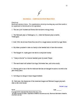 BASEBALL LITERACY:  READING, WRITING, AND THINKING