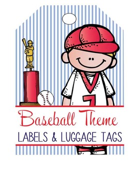 BASEBALL - Labels and Luggage Tags, MS Word, EDITABLE