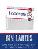 BASEBALL - Labels for Bin Holders, MS Word / editable