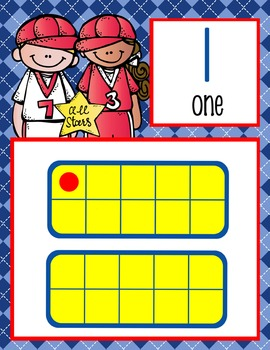 BASEBALL - Number Line Banner, 0 to 20, Illustrated