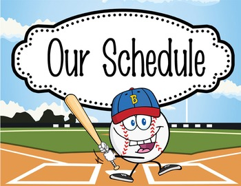 BASEBALL - Schedule Cards / editable MS WORD / Illustrated