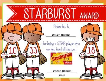 BASEBALL - boys - Candy Award Certificates - editable MS Power Point