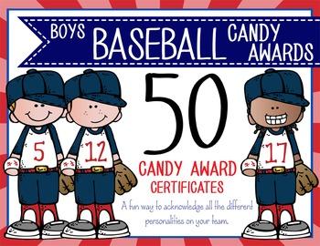 BASEBALL - boys - Candy Award Certificates - editable MS P
