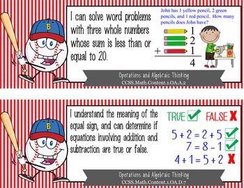 "BASEBALL kid - 1st Grade Common Core Standards ""I CAN"" format / posters"