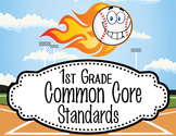 "BASEBALL - 1st Grade Common Core Standards ""I CAN"" format / posters"
