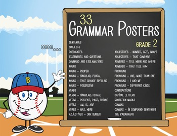 BASEBALL kid - 2nd grade GRAMMAR posters / Scott Foresman Reading