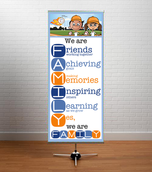 BASEBALL kid - Classroom Decor: LARGE BANNER, We Are FAMILY