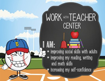 BASEBALL kid - Classroom Decor: Center Signs, student cards