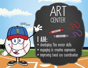 BASEBALL - Classroom Decor: Center Signs, student cards