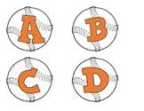 BASEBALLS WITH ORANGE ALPHABET, PUNCTUATION, NUMBERS AND B