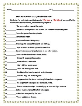 BASIC ASTRONOMY FACTS ACTIVITY, GRADES 4-7